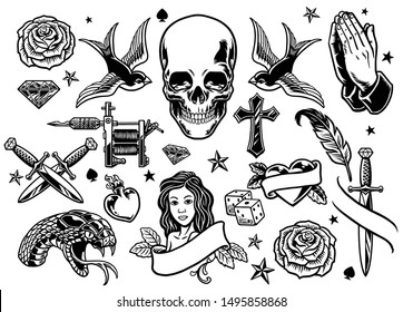 set of various vintage tattoo design collection
