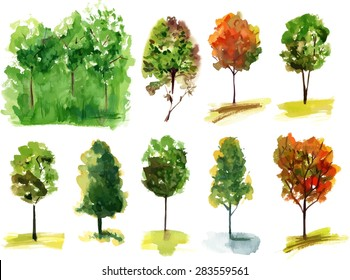 A set of various watercolour trees, scalable vector drawing