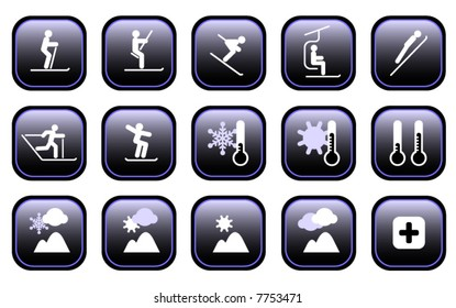 Set of various winter ski sports and weather icons. See File# 7753474 for Hi-res JPG version.