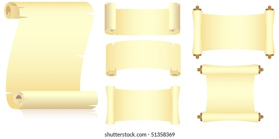 Set of various yellow scrolls, unwraped view. Isolated on a white. Vector illustration.
