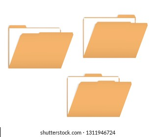 Set of variously tabbed manila file folders with documents inside, vector mockup.