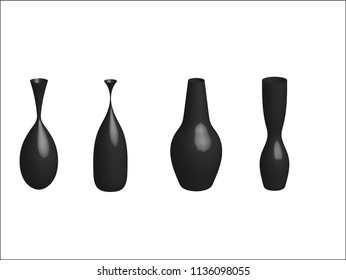 Set of vase on white background.