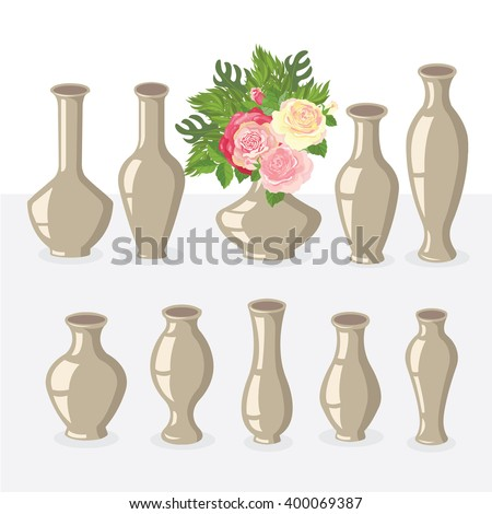 Set Vases Different Shapes Stock Vector Royalty Free 400069387