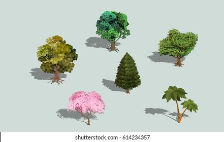 Set of vector 3D isometric trees with shadow. Collection of icons of street plants for creating your own design
