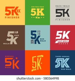 Set of vector 5k run walk race logo graphics labels