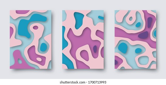 Set of vector abstract 3D templates. A4 backgrounds in paper cut style for your design.