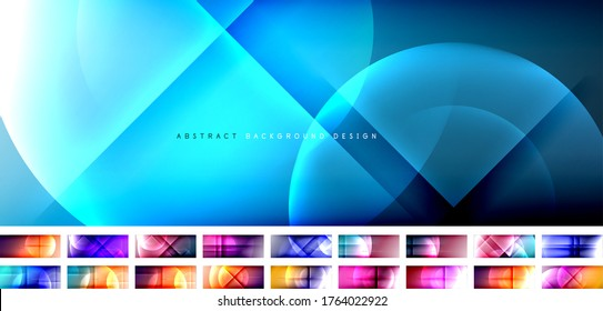 Set of vector abstract backgrounds - circles and crosses on fluid gradient with shadows and light effects. Techno or business shiny design templates for text