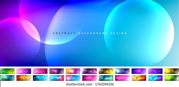 Set of vector abstract backgrounds - liquid bubble shapes on fluid gradient with shadows and light effects. Shiny design templates for text