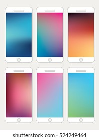 Set of vector abstract backgrounds for mobile phones. Clean and modern style