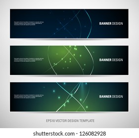 A set of vector abstract banners with green sparkling light background