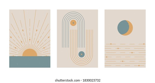 Set of vector abstract boho posters. Minimalist design for background, cover, wallpaper, print, card, wall decor, social media, stories, branding. Landscapes, sun, moon, sea, lines, balance shapes. - Shutterstock ID 1830023732