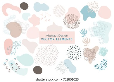 Set of Vector Abstract Brush Strokes, Hand Drawn Design Elements, Organic Shapes, Abstract Backgrounds