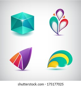set of vector abstract colorful icons, logos isolated