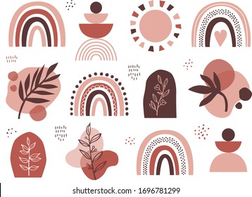Set of vector abstract elements in terracotta colors. Geometric design of background. Abstract rainbow, sun, florals and leaves isolated on white background.