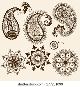 Set of vector abstract floral elements in Indian mehndi style. Abstract henna floral vector illustration. Design element.