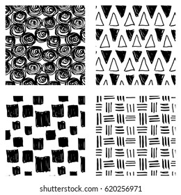 Set of vector abstract geometric hand drawn patterns