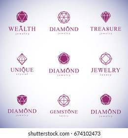 Set of vector abstract geometric shapes best for use as luxury logo. Brilliant jewelry sign.