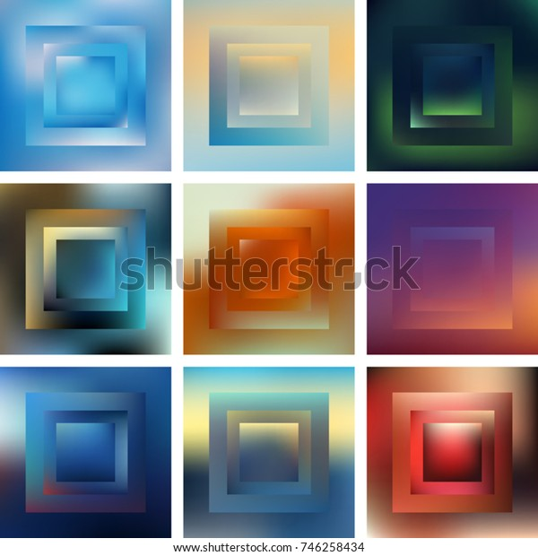 Set of vector abstract geometric shapes with blurred colors