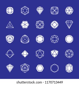 Set of vector abstract graphic shapes best for use as business development logo. Advertisement design concept, gemstone icon.