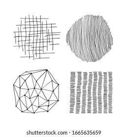 Set of vector abstract handmade graphic elements, for decoration, invitations, posters, card, fabric.