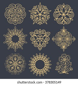 Set Vector abstract icons. The modern concept of gold foil printing on black background. Images for different shapes - circle, triangle, rhombus, pentagon. Vintage. Pictures organic natural motifs.