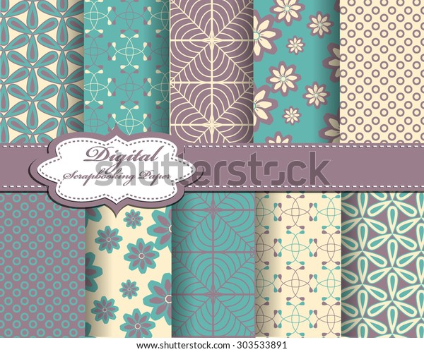 Set Vector Abstract Pattern Paper Scrapbook Stock Vector Royalty Free 303533891