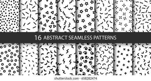 Set of vector abstract seamless patterns with different shapes. Collection of patterns in the Memphis style. Patterns added to the swatch panel.