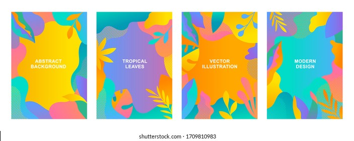 Set of vector abstract summer backgrounds with copy space for text. Vertical templates for web, event invitations, greeting cards, advertising banners. Tropical designs in flat style.