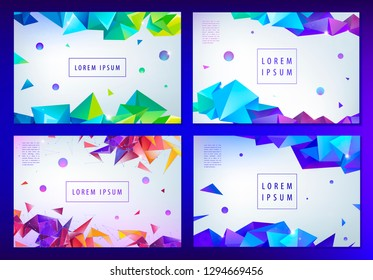 Set of vector abstract triangular banners, geometric posters, covers, web page templates. Modern 3d futuristic design with text space, origami facet shapes