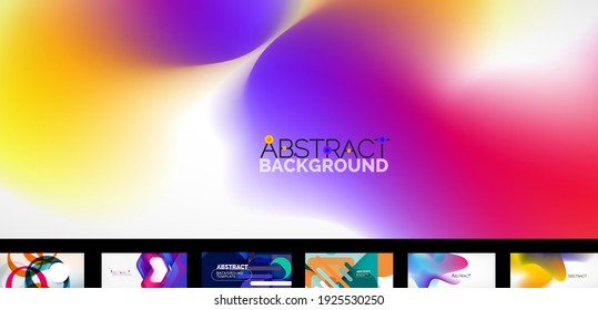 Set of vector abstract wallpaper backgrounds, design templates for business or technology presentations, internet posters or web brochure covers