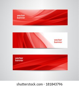 set of vector abstract wavy red banners