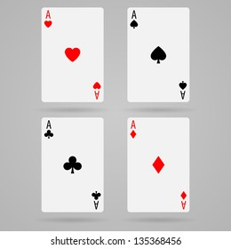 Set of vector ace playing cards