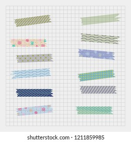 set of vector adhesive Washi  tapes, scotch multicolor