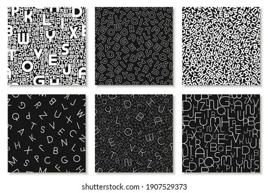 Set of vector alphabet patterns, covers, cards. Stylish black and white backgrounds with latin letters. Fashion monochrome print.