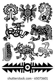 Set - vector American Indian traditional patterns
