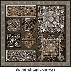Ensemble d'éléments vectoriels anciens du design celtique