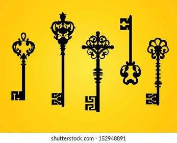 set of  vector ancient keys