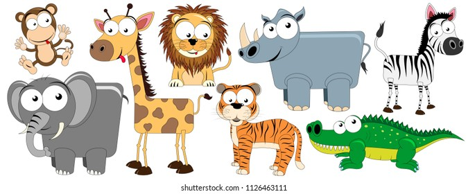 Set of vector animals living in Africa (monkey, giraffe, elephant, lion, rhino, crocodile, zebra, tiger)