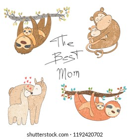 Set of vector animals mums and babies.