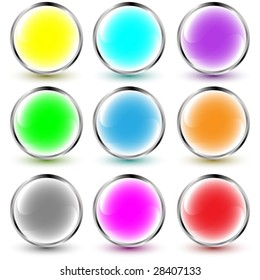 set of vector aqua buttons with shadows over white background