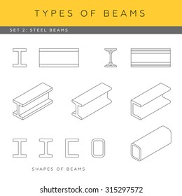 Set of vector architectural blueprints. Types of beams. Collection of steel girders. Beam shapes and isometric items.