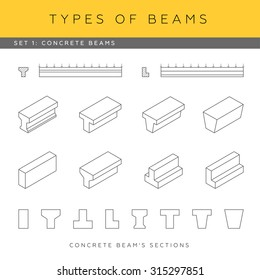 Set of vector architectural blueprints. Types of beams. Collection of concrete girders. Beam sections and isometric items.
