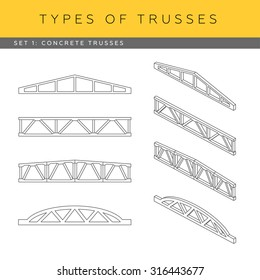 Set of vector architectural blueprints. Types of trusses. Collection of concrete trusses. Front view and isometric items.