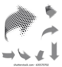 Set of vector arrow icons. Dotted halftone graphic effect. Abstract 3d symbols on white background.
