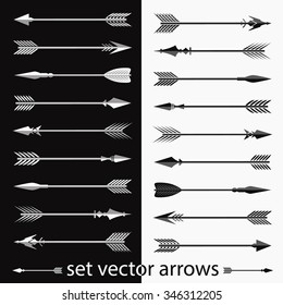 Set of vector arrows. Design elements in the form of decorative vector arrows on white and black background.