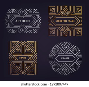Set of vector Art deco golden and silver borders and frames. Creative templates in style of 1920s,  illustration. Trendy cover, graphic poster, gatsby brochure, design, packaging and branding