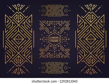 Set of vector Art deco golden borders, frames. Creative templates in style of 1920s. Trendy cover, graphic poster, gatsby brochure, design, packaging and branding. Geometric shapes, ornaments, element