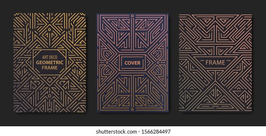 Set of vector Art deco golden covers. Creative design templates. Trendy graphic poster, gatsby brochure, design, packaging and branding. Geometric shapes, ornaments, element