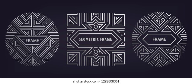 Set of vector Art deco silver borders and frames. Creative templates in style of 1920s,  illustration. Trendy cover, graphic poster, gatsby brochure, design, packaging and branding. Geometric shapes