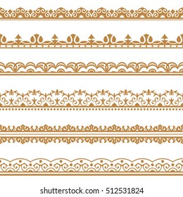 Set of vector art dividers in east style. Borders for the text, invitation cards, various printing editions. Golden seamless elements of design.